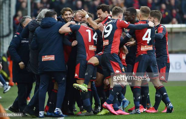 Genoa CFC players rejoice after Goran Pandev's goal during the Serie A match between Genoa CFC and Cagliari Calcio at Stadio Luigi Ferraris on...