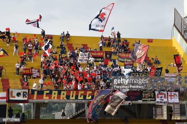 Genoa CFC supporters cheer their team during the serie A match between Benevento Calcio and Genoa CFC at Stadio Ciro Vigorito on May 12 2018 in...