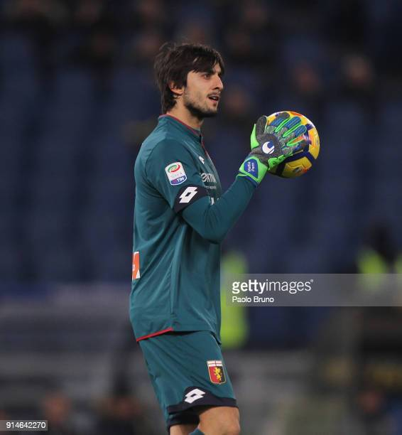 Genoa goalkeeper Mattia Perin looks on during the Serie A match between SS Lazio and Genoa at Stadio Olimpico on February 5 2018 in Rome Italy