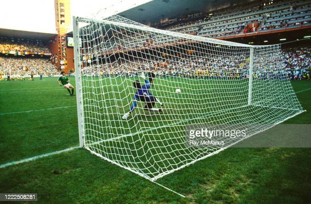 Genoa , Italy - 25 June 1990; Andy Townsend of Republic of Ireland scores his side's third penalty during the penalty shoot out during the FIFA World...