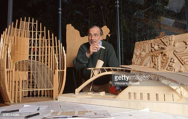 Genoa Italy Italian architect Renzo Piano is shown inside his studio in his villa of Punta Nave March 6 2007 while he watches a wood model of a huge...