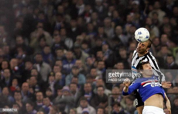 Juventus' defender Fabio Cannavaro vies for the ball with Sampdoria's forward Vitali Kutuzov during their Serie A football match Sampdoria-Juventus...