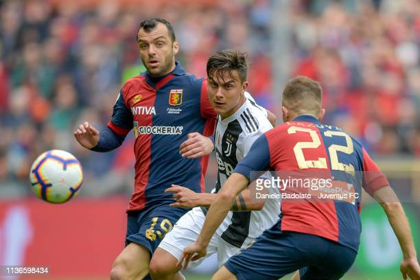 Genoa player Goran Pandev and Juventus player Paulo Dybala during the Serie A match between Genoa CFC and Juventus at Stadio Luigi Ferraris on March...