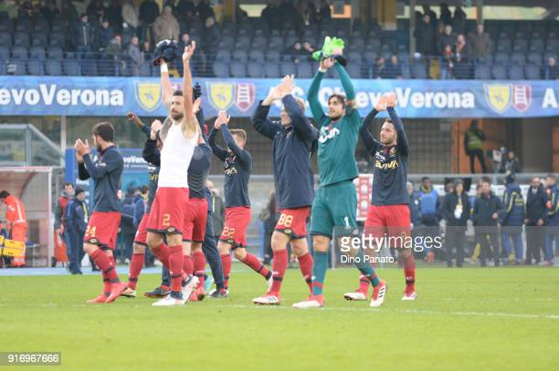 Genoa players applaud fans after the serie A match between AC Chievo Verona and Genoa CFC at Stadio Marc'Antonio Bentegodi on February 11 2018 in...