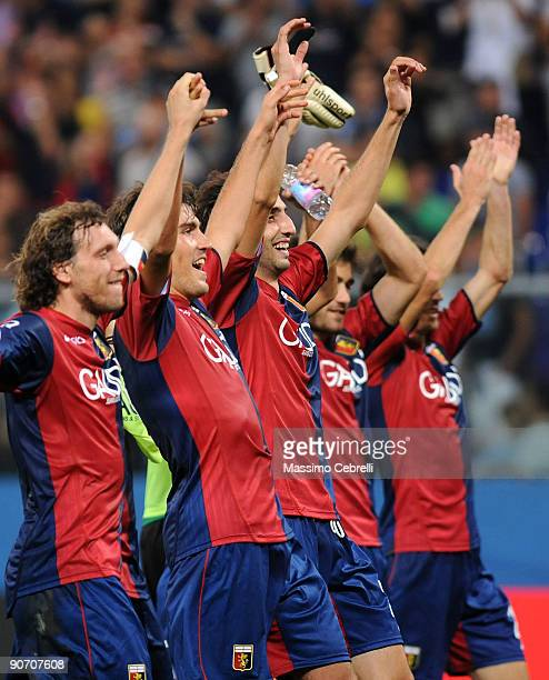 Genoa players celebrate their victory after the Serie A match between Genoa and Napoli at Stadio Luigi Ferraris on September 13, 2009 in Genoa, Italy.