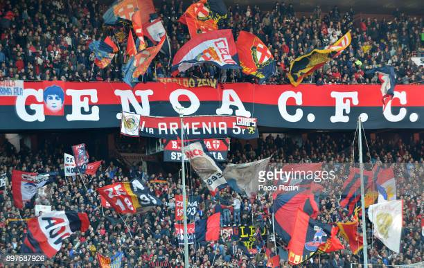 Genoa supporters during the serie A match between Genoa CFC and Benevento Calcio at Stadio Luigi Ferraris on December 23 2017 in Genoa Italy