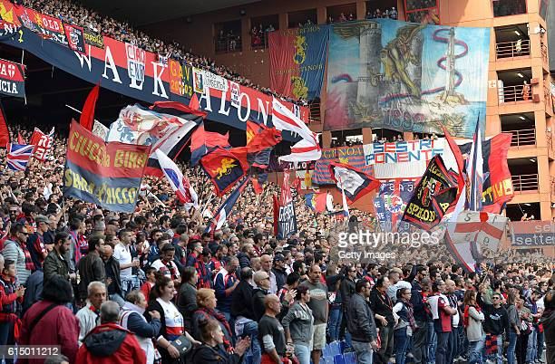 Genoa supporters during the Serie A match between Genoa CFC and Empoli FC at Stadio Luigi Ferraris on October 16 2016 in Genoa Italy