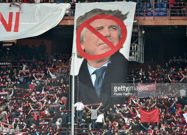 Genoa supporters protest against the President Enrico Preziosi during the Serie A match between Genoa CFC and Atalanta BC at Stadio Luigi Ferraris on...