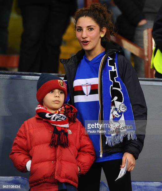 Genoa's and Sampdoria's supporters during the serie A match between UC Sampdoria and Genoa CFC at Stadio Luigi Ferraris on April 7 2018 in Genoa Italy