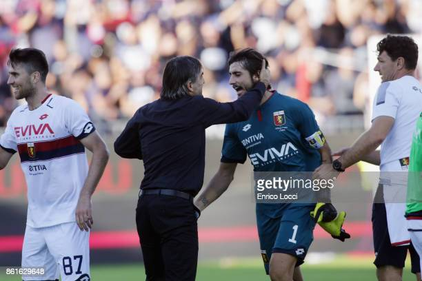 Genoa's coach Ivan Juric and Mattia Perin celebrates a victory during the Serie A match between Cagliari Calcio and Genoa CFC at Stadio Sant'Elia on...