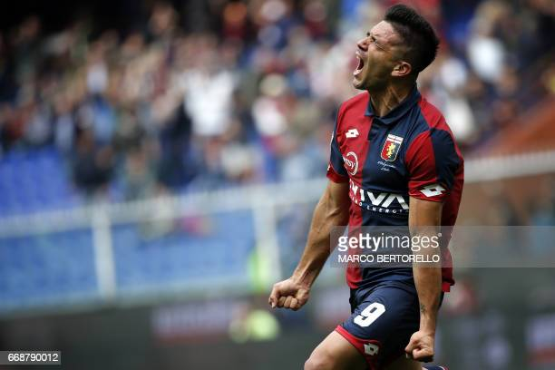 Genoa's forward Giovanni Simeone celebrates after scoring during the Italian Serie A football match Genoa Vs Lazio on April 15 2017 at the 'Luigi...
