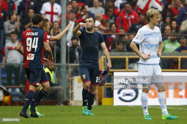 Genoa's forward Goran Pandev of Macedonia celebrates after scoring during the Italian Serie A football match Genoa Vs Lazio on April 15 2017 at the...