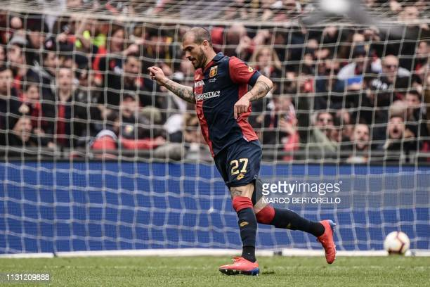 Genoa's Italian midfielder Stefano Sturaro celebrates after opening the scoring during the Italian Serie A football Match Genoa vs Juventus on March...