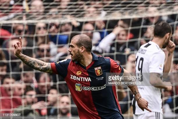 Genoa's Italian midfielder Stefano Sturaro celebrates after opening the scoring during the Italian Serie A football Match Genoa vs Juventus on March...