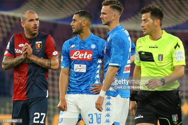 Genoa's Italian midfielder Stefano Sturaro reacts after he received a red card from Italian referee Fabrizio Pasqua during the Italian Serie A...