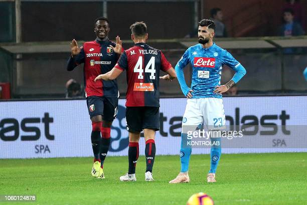 STADIUM GENOVA LIGURIA ITALY Genoa's Ivorian striker Christian Kouame celebrates after scoring a goal during the serie A football match Genoa CFC vs...