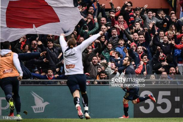 Genoa's Macedonian forward Goran Pandev celebrates after scoring during the Italian Serie A football Match Genoa vs Juventus on March 17 2019 at the
