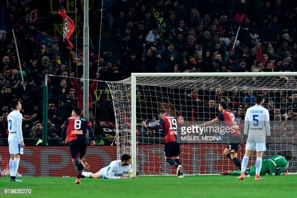 Genoa's Macedonian forward Goran Pandev celebrates after scoring the second goal during the Italian Serie A football match between Genoa and Inter...