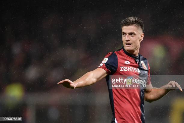 Genoa's Polish forward Krzysztof Piatek gestures during the Italian Serie A football match Genoa vs Napoli at the LuigiFerraris stadium on November...