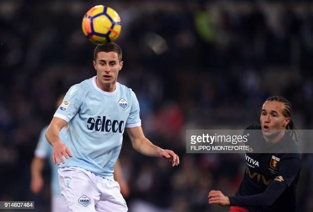 Genoa's Uruguayan midfielder Diego Laxalt vies with Lazio's Montenegrin midfielder Adam Marusic during the Italian Serie A football match Lazio vs...