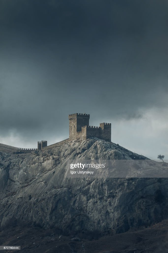 Genoese fortress on a mountain top : Stock Photo
