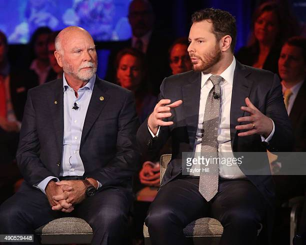 Genome sequencer J Craig Venter and venture capitalist Sean Parker speak during the 2015 Clinton Global Initiative Annual Meeting at Sheraton Times...