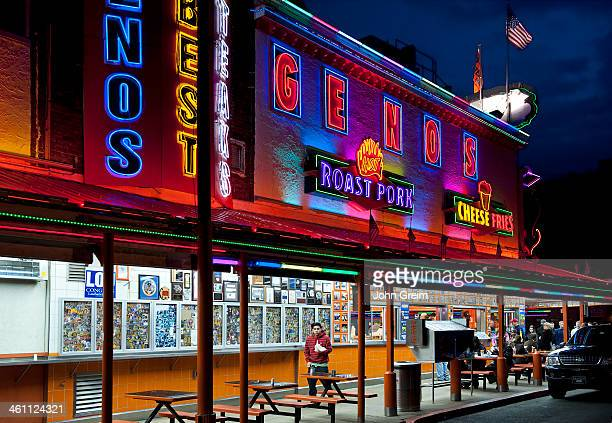 Geno's Steaks famous for cheesesteaks