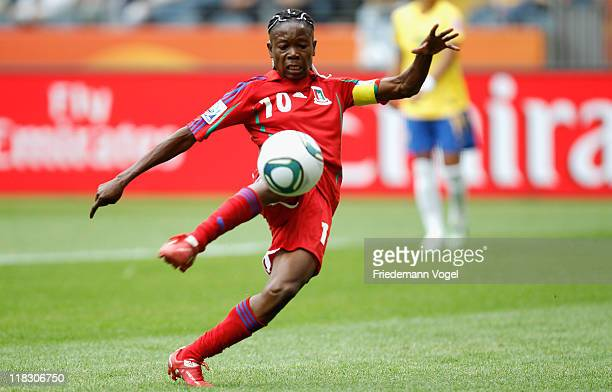 Genoveva Anonman Nze of Equatorial Guinea runs with the ball during the FIFA Women's World Cup 2011 Group D match between Equatorial Guinea and...