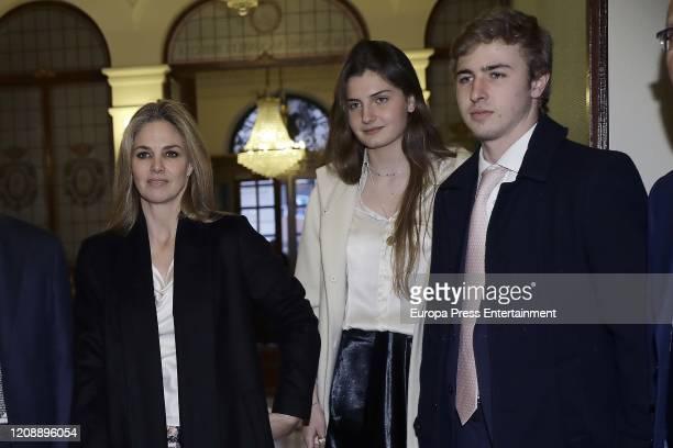 Genoveva Casanova , Amina Martinez de Irujo and Luis Martinez de Irujo attend The Honor Medal of the Royal National Academy of Medicine on February...