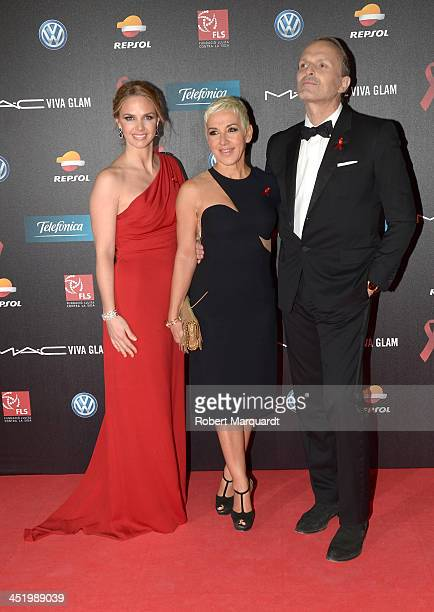 Genoveva Casanova Ana Torroja and Miguel Bose pose during a photocall for the '4th Annual Gala Sida Barcelona 2013' held at the El Museo Nacional de...