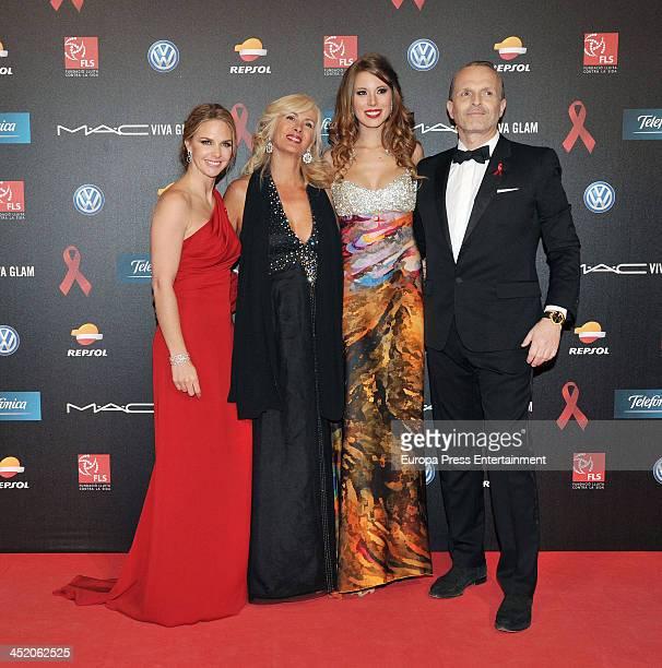 Genoveva Casanova guest Andrea Huisgen and Miguel Bose attend the '4th Annual Gala Sida Barcelona 2013' Museo Nacional de Arte de Cataluna on...
