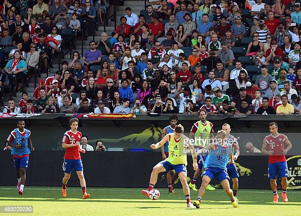 A genral view during a training session at the JeldWen Field on day seven of the Bayern Muenchen Audi Summer Tour USA 2014 on August 5 2014 in...