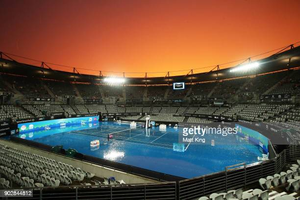 A genral view of Ken Rosewall Arena as rain stops play during day three of the 2018 Sydney International at Sydney Olympic Park Tennis Centre on...