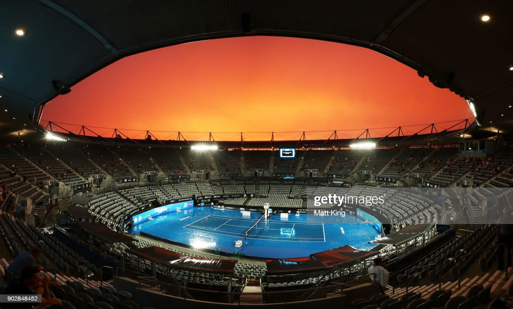 A genral view of Ken Rosewall Arena as rain stops play during day three of the 2018 Sydney International at Sydney Olympic Park Tennis Centre on January 9, 2018 in Sydney, Australia.