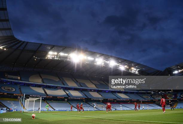 Genral view of play during the Premier League match between Manchester City and Liverpool FC at Etihad Stadium on July 02, 2020 in Manchester,...