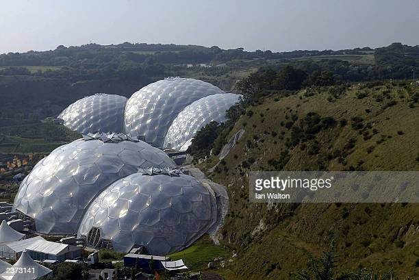 A genral view of the Eden Project August 5 2003 in St Austell England The Eden Project was designed to promote the understanding and responsible...
