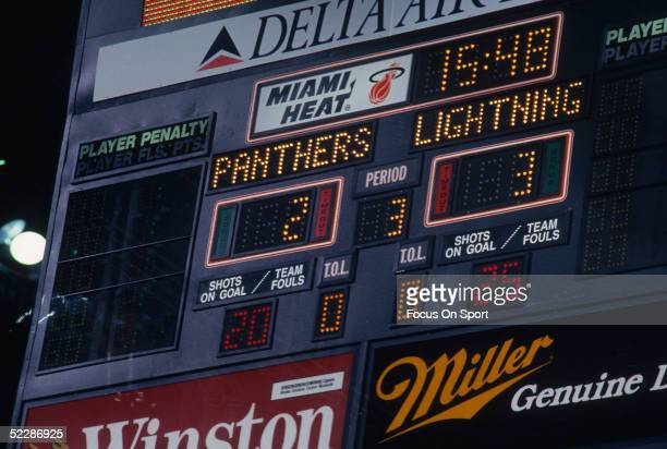 Genral view of the scoreboard as it shows the score of a Hockey game between Tampa Bay Lightning and the Florida Panthers during a 1993 NHL game at...