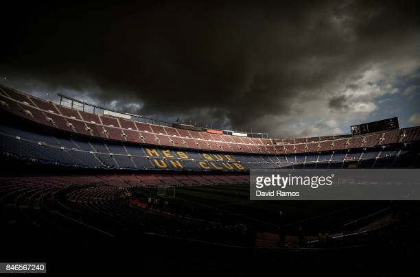 Genral view of the stadium prior to the UEFA Champions League group D match between FC Barcelona and Juventus at Camp Nou on September 12, 2017 in...