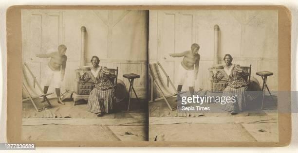 Men in blackface acting a scene; about 1865; Albumen silver print.