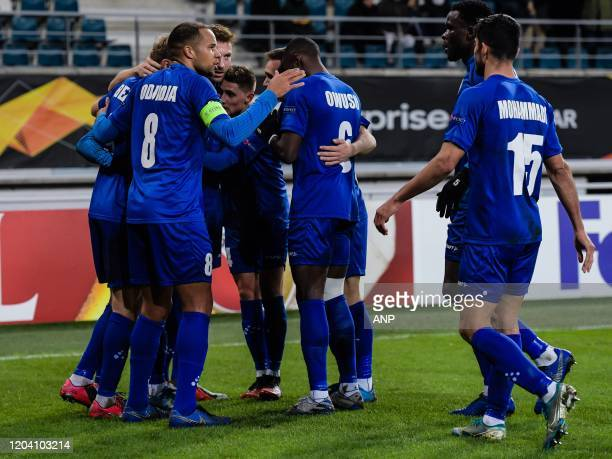 Gent celebrate the goal of Jonathan David of KAA Gent during the UEFA Europa League round of 32 second leg match between KAA Gent v AS Roma at...