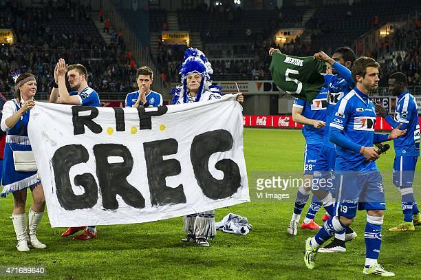KAA Gent celebrate the win and honour Gregory Mertens during the Jupiler Pro League match between KAA Gent and RSC Anderlecht on April 30 2015 at the...