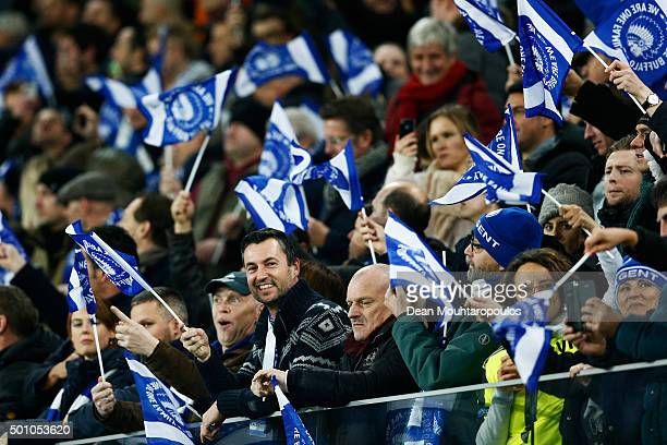 Gent fans cheer during the group H UEFA Champions League match between KAA Gent and Football Club Zenit Saint Petersburg held at Ghelamco Arena on...