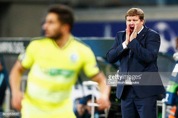 Gent Head coach / Manager Hein Vanhaezebrouck reacts on the sidelines during the group H UEFA Champions League match between KAA Gent and Football...
