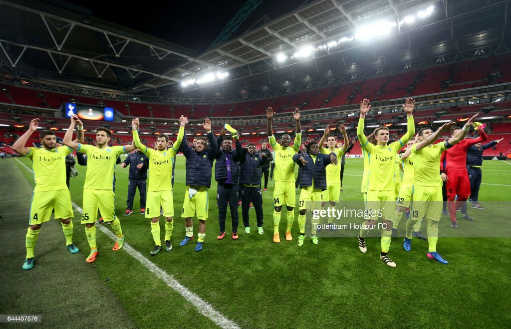 Gent players celebrate after the UEFA Europa League Round of 32 second leg match between Tottenham Hotspur and KAA Gent at Wembley Stadium on February 23, 2017 in London, United Kingdom. The match finished 2-2 with Gent winning 3-2 on aggregate.