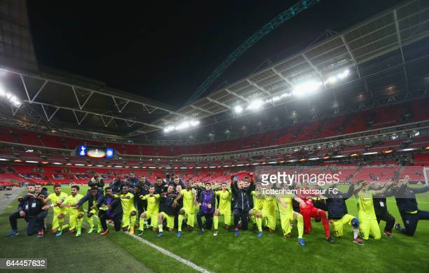 Gent players celebrate after the UEFA Europa League Round of 32 second leg match between Tottenham Hotspur and KAA Gent at Wembley Stadium on...