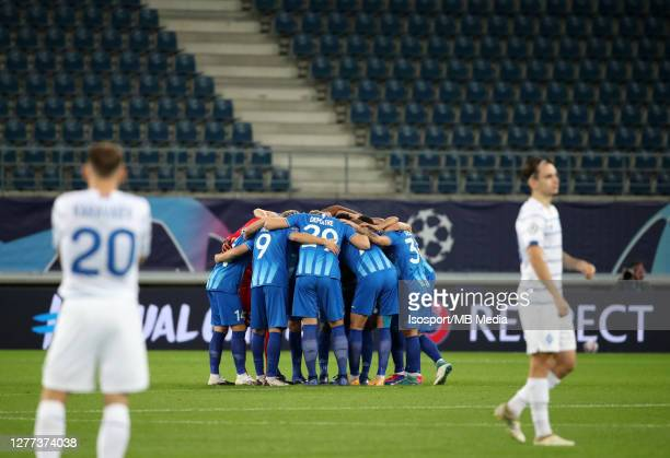 Gent players during the UEFA Champions League PlayOff first leg match between KAA Gent and Dynamo Kyiv at Ghelamco Arena on September 23 2020 in Gent...