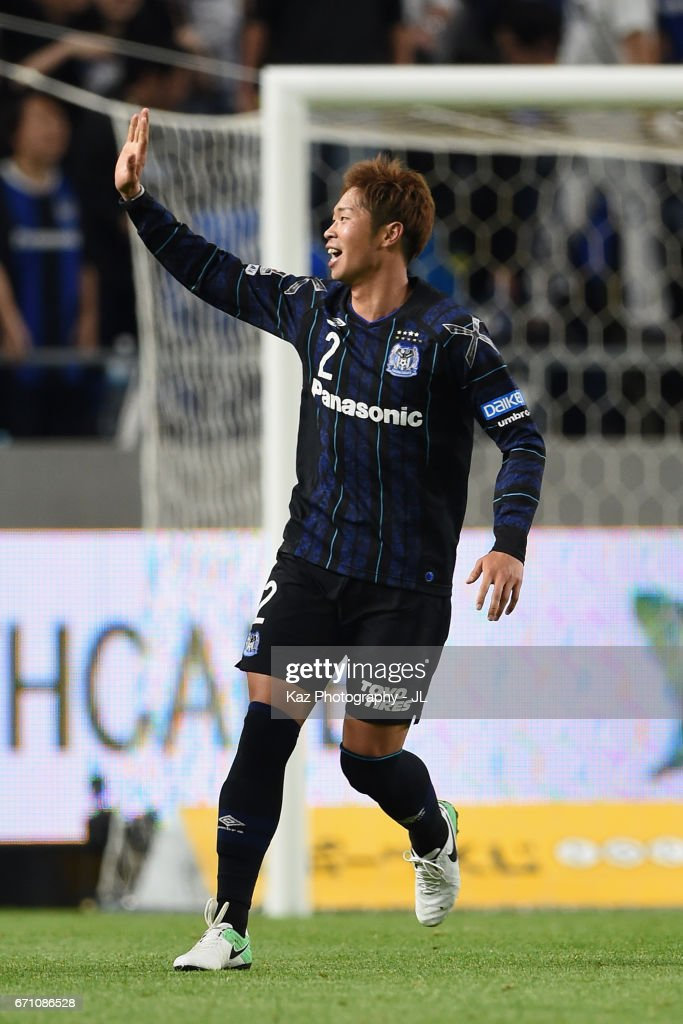 Genta Miura of Gamba Osaka celebrates scoring his side's fifth goal during the J.League J1 match between Gamba Osaka and Omiya Ardija at Suita City Football Stadium on April 21, 2017 in Suita, Osaka, Japan.