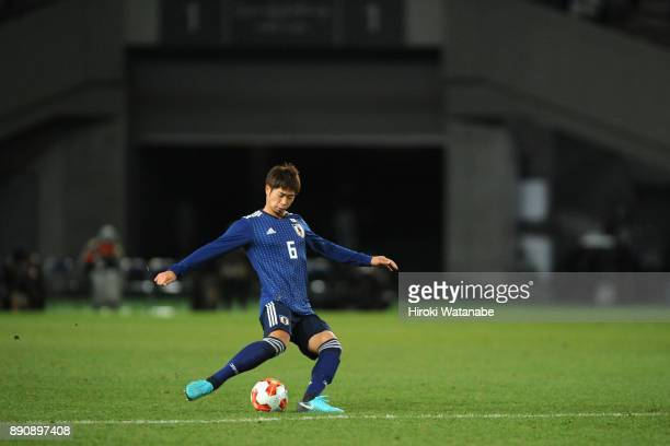 Genta Miura of Japan in action during the EAFF E1 Men's Football Championship between Japan and China at Ajinomoto Stadium on December 12 2017 in...