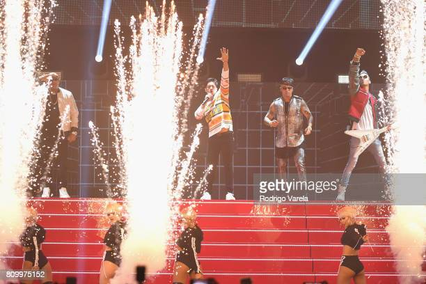 Gente De Zona Chino Wisin and Motiff perform on stage during Univision's 'Premios Juventud' 2017 Celebrates The Hottest Musical Artists And Young...