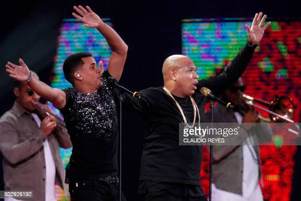 Gente de Zona performs at the 59th Vina del Mar International Song Festival on February 21 2018 in Vina del Mar Chile / AFP PHOTO / CLAUDIO REYES